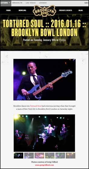Live photos of Tortured Soul used by Brooklyn Bowl for their website blog post.