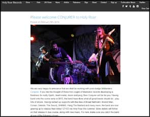 Live shot of Conjurer on the Holy Roar record label website accompanying news of their joining the label.