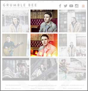 Two portraits of Grumble Bee (Jack Bennett) on his website's promotional images page.