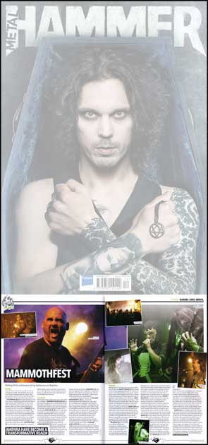 Double page spread of live shots for Metal Hammer magazine from Mammothfest.