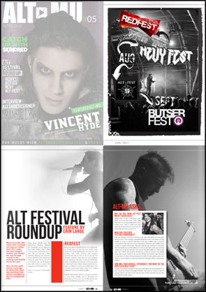 Full page photos of Finch, TRC, and Polar accompanying an article on Alternative music festivals in ALT-MU Magazine.