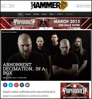 Portrait of Abhorrent Decimation on Metal Hammer's website to accompany an article on their airtight 'Box sized DIE' performance.