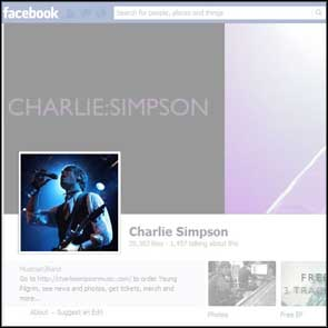 Live shot of Charlie Simpson used as his Facebook Profile picture for over a year.