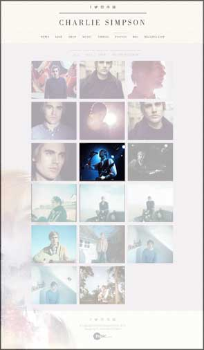 My live photo of Charlie Simpson used on his website gallery page. This image was used for over a year as his Facebook profile picture.