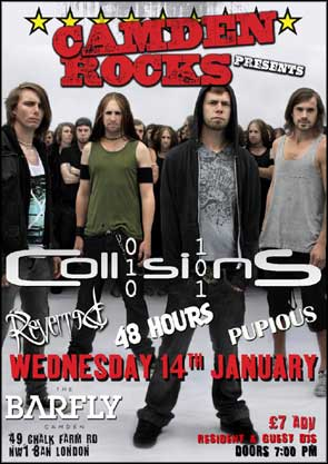 Band portrait of Collisions used for a gig poster.