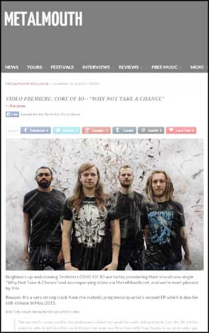Portrait of Core Of iO on Metal Mouth's website to accompany an article on their video release.
