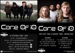Band portraits of Core Of iO on tour posters.