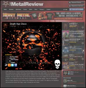 The album cover for Death Ape Disco's 'Supervolcano' release in The Metal Review website.