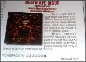 The album cover for Death Ape Disco's 'Supervolcano' release in Powerplay magazine.