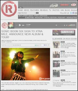 Live shot of Laila K from Sonic Boom Six accompanying an editorial piece in Rock Sound online.