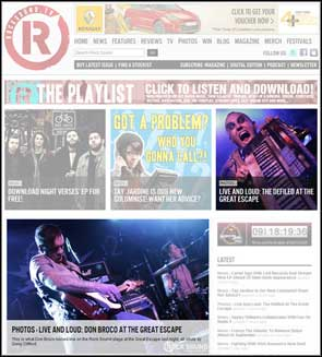 Live photos of Don Broco and The Defiled on Rock Sound's website homepage.