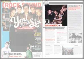 Promotional portrait of Collisions in Rock Sound magazine.