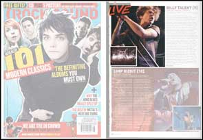 Live photographs of Billy Talent for Rock Sound magazine.