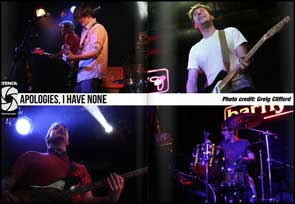 Live shots of Apologies, I Have None in Stencil Magazine.