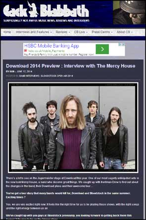 Band portrait of The Mercy House accompanying a pre-Download fest interview in Cack Blabbath.
