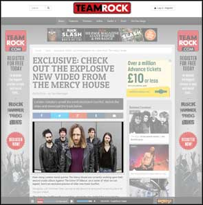 Band portrait of The Mercy House accompanying their video release article on the Team Rock website.