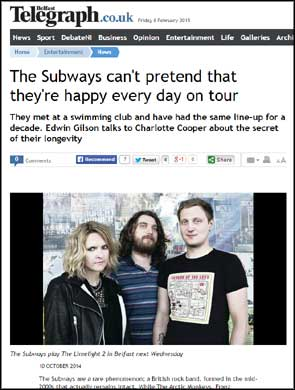 Portrait of The Subways on the Belfast Telegraph newspaper website to accompany an interview.