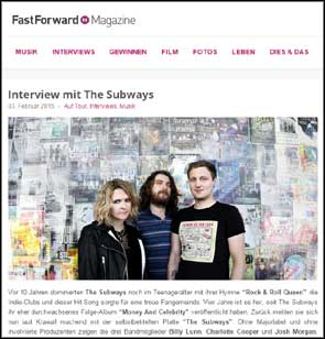 Portrait of The Subways accompanying an interview with Fast Forward Magazine.