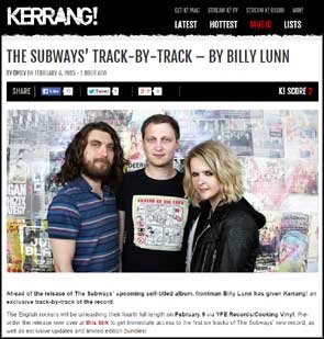 Portrait of The Subways on the KERRANG! website to accompany a track by track feature on their album.