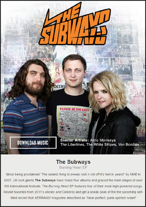 Portrait of The Subways used for online advert for an ep download ahead of the US album release.