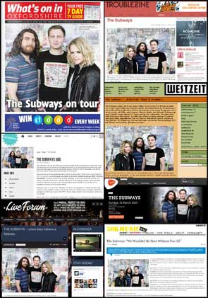 Portrait of The Subways accompany various news articles and interviews in What's On in Oxford Guide, Troublezine, Westzeit, Rokhal, 50K Music Mag, Live Forum, and Botanique's guide.