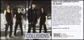Promotional portrait of Collisions in Big Cheese magazine.