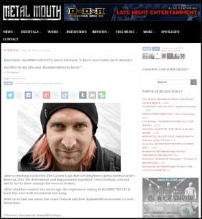 Portrait of Mammothfest's Steve Dickson accompanying an interview with the Metal Mouth music site.